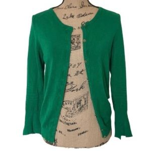 Zara Knit Green Long Sleeved Cardigan Sz L